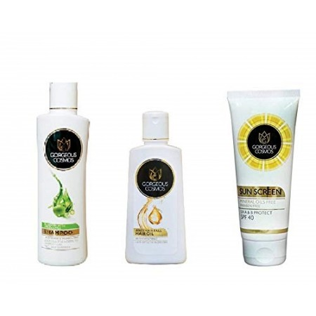 Combo of Aloevera Green Apple Herbal Shampoo (200 ML), Anti Hair Fall Hair Oil (100 ML) & Sunscreen Lotion UV A & B Protected SPF 40 (50 Ml)