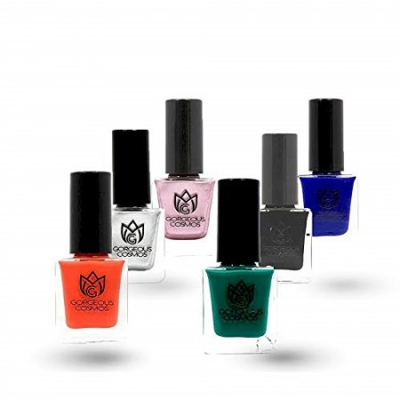 Classic Combo - 6 Nail Polish of Red Blue Black Silver Pine Weding Shoes Toxic Free 60 Ml (10 Ml Each)