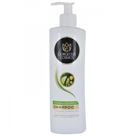 Gorgeous Cosmos Henna Liquorice Shampoo 1.4 Dioxane & Paraben Free Falling & Thinning Hair Hair Growth Promoter 350 Ml