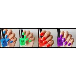 Set of 4 Neon Nailpolish