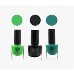 Classic Combo 3 Nail Polish - Patent Parakeet Pine (Parrort, Black, Green) Toxic Free 18 Ml (6 Ml Each)