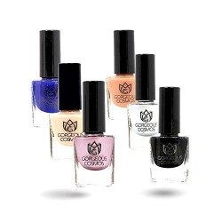 Classic Combo - Nail Polish of Blue Black Wedding Shoes Silver Fair Bride Praline 36 Ml (6 Ml Each)